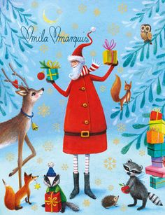4 small Christmas cards by Mila Marquis par MarquisWonderland