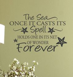 Beach+Decor+Decal+wall+Quote+words+The+Sea+Once+by+HouseHoldWords,+$38.00