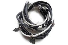 Handgemaakte wikkelarmband van diverse soorten PU-leerkoord en jewelry-cord