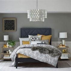 Mid-tone Gray Painted Bedroom.