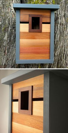 This grey, light and dark wood modern birdhouse is inspired by craftsman architecture.