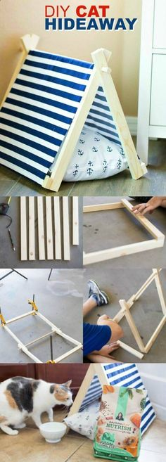 Cats Toys Ideas - DIY Cat Hideaway via Spaceships and Laser Beams - Ideal toys for small cats #catsdiytoy #Cattoyideas