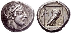 A Rare Greek Silver Didrachm of Athens (Attica), Among the Finest Known. Didrachm circa 475-465 B.C. The owl didrachms of Athens are now generally attributed to c.475-465 B.C., a period that found Athens under the influence of Cimon, son of Miltiades, the hero of Marathon. Though he had to battle opponents such as Themistocles and Pericles, Cimon was central to the rise of Athenian power in the 470s and 460s.