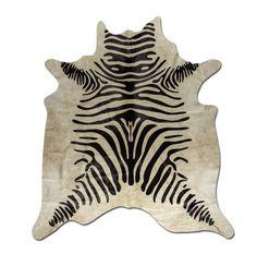 Zebra Print auf Kuhfell-Teppich Tapis en Peau de Vache Tappeto di pelle di mucca