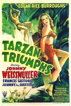 Mis famosas películas de Tarzan en el Cine Moderno.  Tarzan Triumphs, Johnny Weissmuller, 1943 at RKO