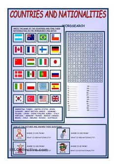 There are 2 activities 1-write the name of the countries under the flags, find the nationalities in the grid and match 2-look at the picture and answer - ESL worksheets