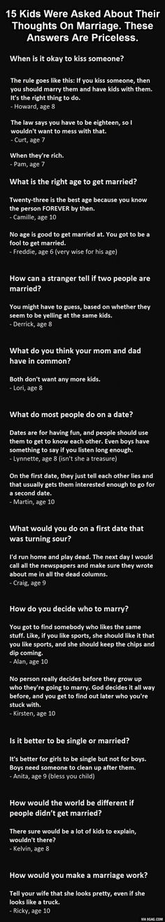 Some of these answers are priceless haha!! I have faith in the next generation