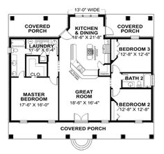Main Floor Plan with covered porch front & back