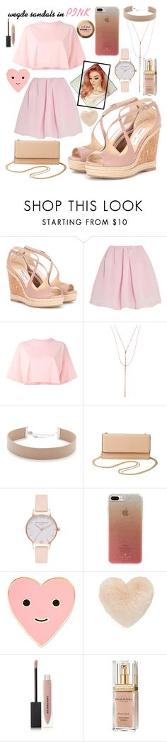 """Wedge sandals "" by mertirierikson ❤ liked on Polyvore featuring Jimmy Choo, Carven, Puma, Lana, Jennifer Zeuner, Charlotte Russe, Olivia Burton, Kate Spade, ban.do and Nordstrom"
