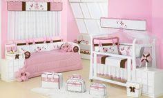 Quarto de menina com enxoval rosa e marrom | Quarto de bebê - Decoração, bebês, gravidez e festa infantil