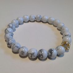 White Natural  Howlite Beaded stretch  Bracelet with by UniqBeadz, $25.00