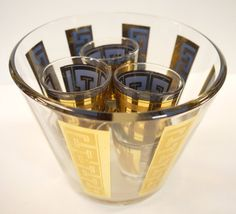 Ice Bucket and Glasses 1970s Glass Greek Key Design by Yonks, $64.00
