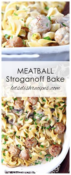 Stroganoff Bake Recipe: All the flavors of classic beef stroganoff come together in this delicious pasta filled casserole, made easy with the addition of precooked frozen meatballs. A simple, tasty dinner the whole family will love!