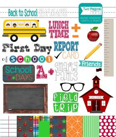 FREE Back to School Clip Art and Papers- Digital Crafting Pack