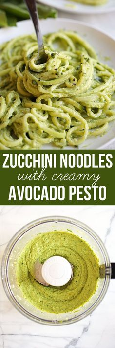 Save this zoodles recipe for zucchini noodles with creamy avocado pesto for a healthy weeknight dish you can pair with chicken, shrimp or steak!