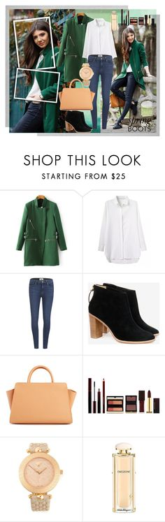 """Spring boots"" by fashionholics-h-a ❤ liked on Polyvore featuring Paige Denim, Ted Baker, ZAC Zac Posen, Kevyn Aucoin, Versace, Salvatore Ferragamo and Polaroid"