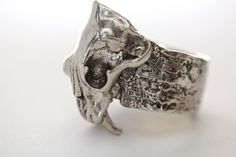 Silver Saber-tooth tiger Skull Ring cast to by BlueBayerDesignNYC