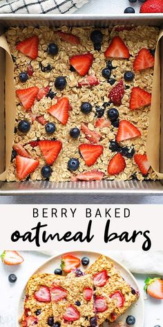 Oatmeal Bars Healthy, No Bake Oatmeal Bars, Healthy Meal Prep, Healthy Breakfast Recipes, Healthy Baking, Baked Oatmeal Cups, Healthy Recipes For Kids, Dinner Ideas Healthy, Blueberry Oatmeal Bars