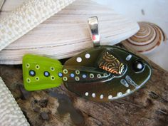 Hand painted Fused glass Olive n Lime FISH pendant  by SilviaEngel