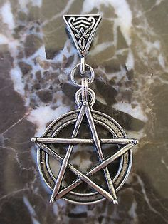Large Pentagram Star Pentacle Medallion with Bail-Wicca Pagan Black Necklace