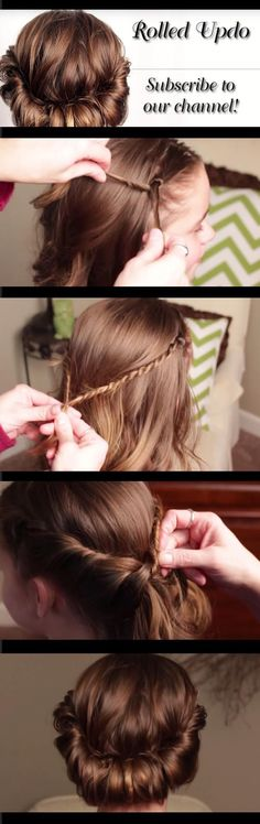 Quick and Easy Hairstyles for Straight Hair - How To Rolled Updo Pretty Hair is Fun - Popular Haircuts and Simple Step By Step Tutorials and Ideas for Half Up, Short Bobs, Long Hair, Medium Lengths Hair, Braids, Pony Tails, Messy Buns, And Ideas For Tools Like Flat Irons and Bobby Pins. These Work For Blondes, Brunettes, Twists, and Beachy Waves - https://thegoddess.com/easy-hairstyles-straight-hair