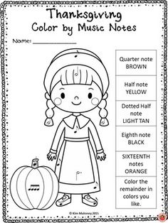 Color by Music Symbol: Thanksgiving. THANKSGIVING MUSIC SYMBOL GLYPHS A set of 30 Music Coloring Glyphs! CLICK through to preview or save for later! ♫