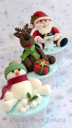 puddle duck bakery - christmas - christmas cupcakes - santa cupcake, reindeer cupcake & snowman cupcake