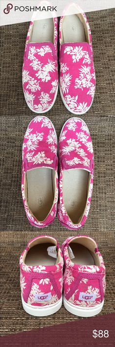 UGG Floral Slip on Sneakers UGG Floral Slip on Sneaker.  New without tags.  I wish I wore a size 10.  If you do or know someone, the matching bag is in my closet.  What a great gift! UGG Shoes Moccasins