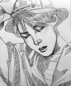Bts army adlı kullanıcının bts panosundaki pin dibujos a lapicero, dibujos tumb Kpop Drawings, Art Drawings Sketches, Pencil Drawings, Fanart Bts, Art Simple, Amazing Drawings, Bts Chibi, Art Inspo, Art Reference