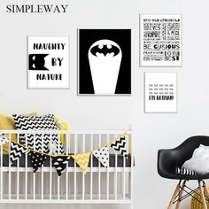 Child Manifesto Batman Poster Black White Nursery Quotes Wall Art Canvas Print Painting Nordic Kid Room Decoration Picture