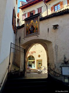 Bicycle in Bozen - A gateway in the city of Bozen Italy.