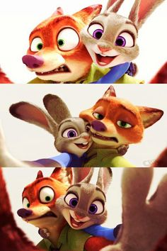 Judy: I will have a selfie photo with you! Nick. No matter the cost! Nick: This is my photo Carrots! Get away. Judy: You can't rid of me you dump fox! (Get it!...hhheehhee)