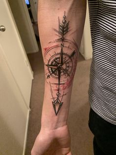 Compass and arrow by Jared Rocker at Clovis ink. (Clovis C . (Clovis Ca) Compass and arrow by Jared Rocker at Clovis ink. (Clovis Ca) – – - Compass Tattoos Arm, Forarm Tattoos, Compass Tattoo Design, Forearm Tattoo Men, Mom Tattoos, Arrow Tattoos, Hand Tattoos, Sleeve Tattoos, Tattoos For Guys