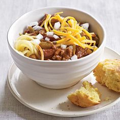 Cincinnati Turkey Chili via Cooking Light. Although my Texas upbringing biases me strongly towards all beef chili (no beans, preferably served over Fritos) I appreciate chili in almost every form. I've always been intrigued by the spaghetti and chocolate aspects of Cincinnati chili and realize trying this version is not the most authentic way to check it out, but, whatever.