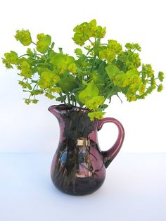 Vintage Hand Blown Amethyst Glass Pitcher / Violet or Purple glass vintage jug / Water jug / Flower vase / Early XX