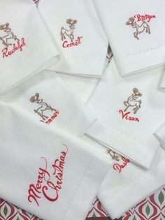 Set of Santa's Reindeer Christmas Cloth Napkins - Set of 10 unique napkins