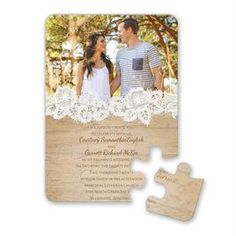 Brown Wedding Invitations Wood And Lace Puzzle Invitation Invitations Dawn Brown Wedding Invitations, Typography Wedding Invitations, Wedding Invitations With Pictures, Wood Invitation, Wedding Invitation Wording, Invitation Design, Photo Invitations, Invites, Wedding In The Woods
