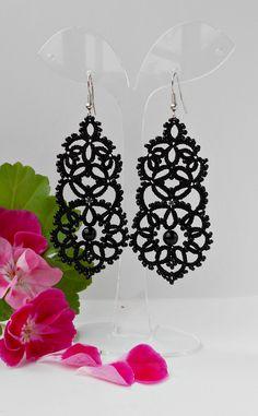 Black Lace Earrings with Black Agat Chandelier Tatted Earrings Lace Jewelry Drop earrings  Bridesmaids earrings