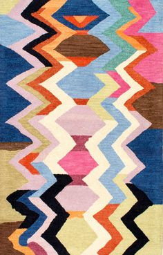 Lots of geometric fun! This is Rugs USA's Tikal Striped Chevron Hand Made Woolen AH05 Rug!