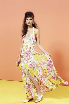 Glowing Spring Maxi Dress, Harness Belt, Sunburst Spike Earrings, Danica Oxford