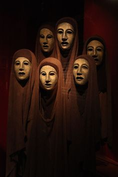 Masks for The Oresteia, These masks were designed by Jocelyn Herbert for the Greek play The Oresteia by Aeschylus. Masks for The Oresteia, These masks were designed by Jocelyn Herbert for the Greek play The Oresteia by Aeschylus. Razias Shadow, Greek Chorus, Greek Plays, Ancient Greek Theatre, Tableaux Vivants, Greek Tragedy, Art Premier, Theatre Costumes, Theater Masks