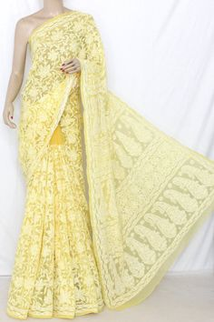 Golden Yellow Allover Hand Embroidered Lucknowi Chikankari Saree (With Blouse - Georgette) 13742