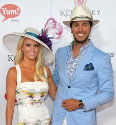 Luke and Caroline Bryan at the 2013 Kentucky Derby.