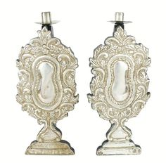 Antique Mexican Silvered Repousse Candle Holders