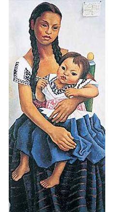 delfina flores y su sobrina modesta Paintings | Diego Rivera paintings