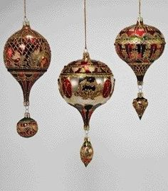 """Katherine's Collection A Christmas Journey Christmas Collection Set Six Assorted 7"""", 8"""" &  9"""" Glass Hot Air Balloon Ornaments Free Ship"""