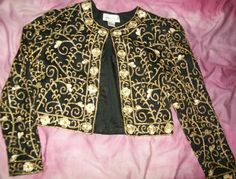 Laurence Kazar Black & Gold Beaded Silk Jacket Bolero Style Formal Wear Small