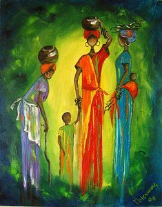 Gogo And Daughters Print by Marietjie Henning