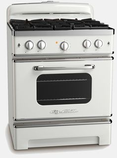 Big Chill's stove is a model of both retro class and modern comforts. It features an easy to clean sealed burner top, automatic ignition and re-ignition system, convection fan and a hoast of other perks. In Classic White.
