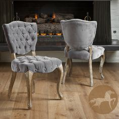 Christopher Knight Home Bates Tufted Grey Fabric Dining Chairs (Set of 2) | Overstock.com